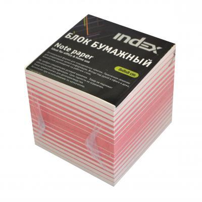 Блок бумажный Index 80х80х80 мм белый красный