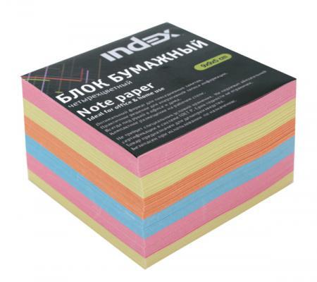 Блок бумажный Index 90х90х50 мм многоцветный IPC995CM
