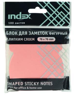 Бумага с липким слоем Index 100 листов 76x76 мм многоцветный