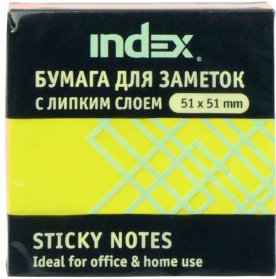Бумага с липким слоем Index 150 листов 51х51 мм многоцветный РАДУГА I437810