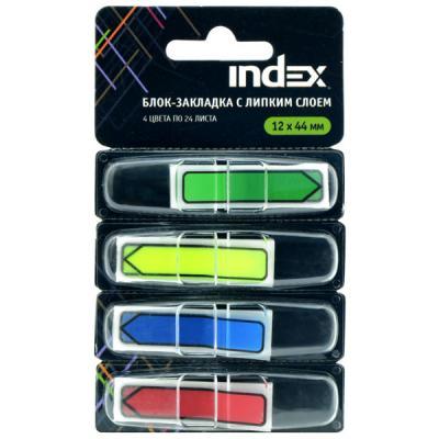 Бумага с липким слоем Index 24 листа 12х44 мм многоцветный 463810