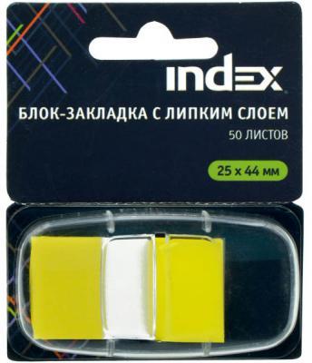 Стикер Index 50 листов 25х44 мм желтый I464801 блокнот index in0103 a550 a5 50 листов в ассортименте