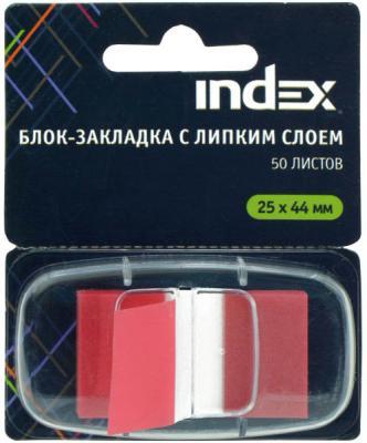 Стикер Index 50 листов 25х44 мм красный I464807
