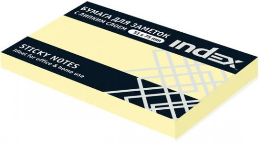 Бумага с липким слоем Index 100 листов 51х75 мм желтый I432601