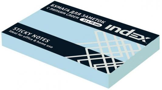 Бумага с липким слоем Index 100 листов 51х76 мм голубой I432802