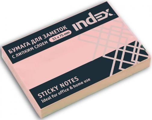 Бумага с липким слоем Index 100 листов 51х76 мм светло-розовый I432804