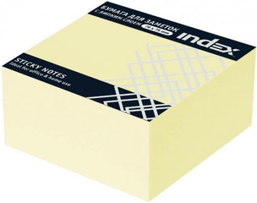 Бумага с липким слоем Index 400 листов 76х75 мм желтый I433610