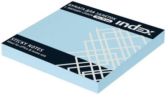 Бумага с липким слоем Index 100 листов 76х75 мм голубой I433802