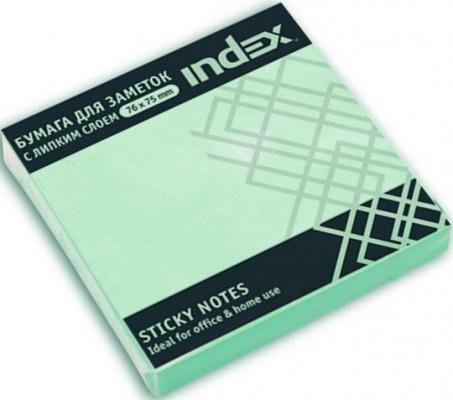 Бумага с липким слоем Index 100 листов 76х75 мм зеленый I433803