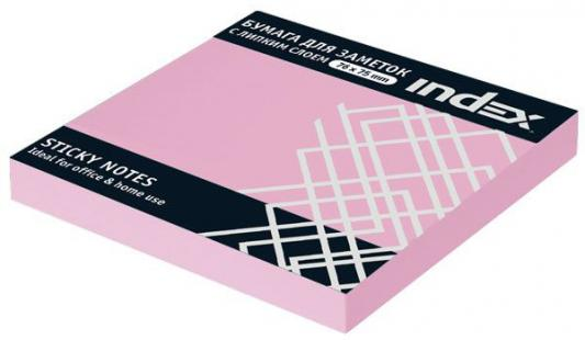 Набор стикеров с липким слоем Index 100 листов 76x76 мм светло-розовый 92312576/I433804 степлер index ims310 gy 20 листов