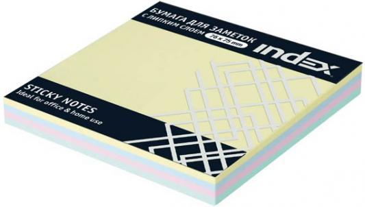 Бумага с липким слоем Index 100 листов 76х75 мм многоцветный РАДУГА I433810