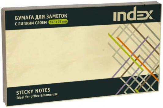 Бумага с липким слоем Index 100 листов 125х75 мм желтый I435601