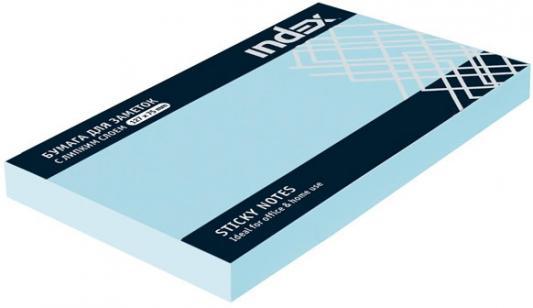 Бумага с липким слоем Index 100 листов 125х75 мм голубой I435802
