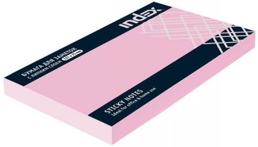 Бумага с липким слоем Index 100 листов 125х75 мм светло-розовый I435804
