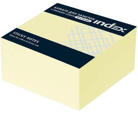 Бумага с липким слоем Index 250 листов 51х51 мм желтый МИНИ-КУБ I436601 блокнот index in0103 a550 a5 50 листов в ассортименте