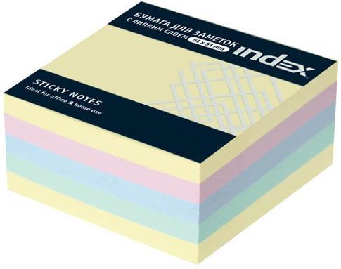 Бумага с липким слоем Index 250 листов 51х51 мм многоцветный МИНИ-КУБ I436801
