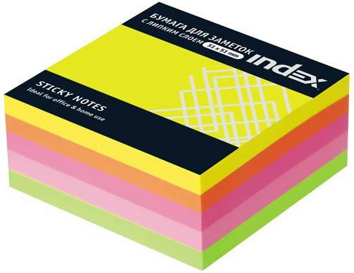 Бумага с липким слоем Index 250 листов 51х51 мм многоцветный МИНИ-КУБ I436810