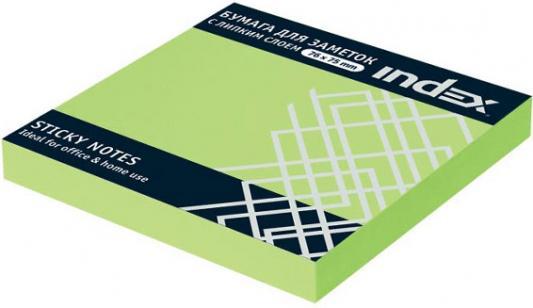 Бумага с липким слоем Index 100 листов 76х75 мм зеленый I453803