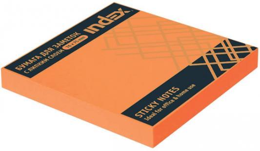 Бумага с липким слоем Index 100 листов 76х75 мм оранжевый I453805 степлер index ims310 gy 20 листов