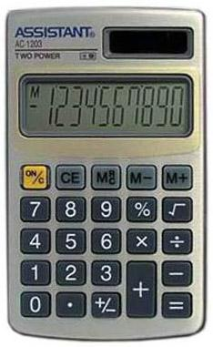 Калькулятор карманный Assistant AC-1203 10-разрядный  AC-1203 калькулятор настольный assistant ac 2132 8 разрядный ac 2132
