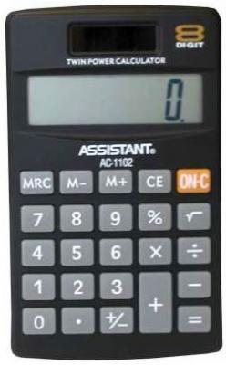 Калькулятор карманный Assistant AC-1102 8-разрядный черный