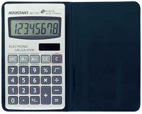 Калькулятор карманный Assistant AC-1121 8-разрядный калькулятор настольный assistant ac 2132 8 разрядный ac 2132