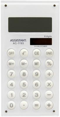 Калькулятор карманный Assistant AC-1193White 8-разрядный белый калькулятор assistant ac 1193 8 разрядный цвет зеленый
