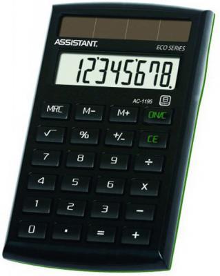 Калькулятор карманный Assistant AC-1195eco 8-разрядный калькулятор настольный assistant ac 2132 8 разрядный ac 2132