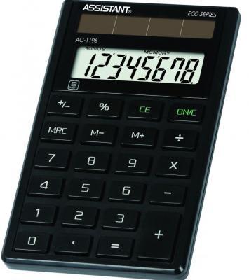 Калькулятор карманный Assistant AC-1196eco 8-разрядный черный калькулятор настольный assistant ac 2132 8 разрядный ac 2132