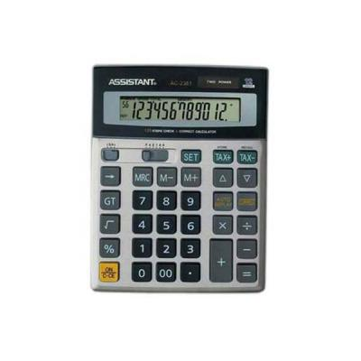 Калькулятор 12-разр., дв. питание, проверка-коррекция (120 шагов), мет. панель, разм.200х157х37 мм AC-2361
