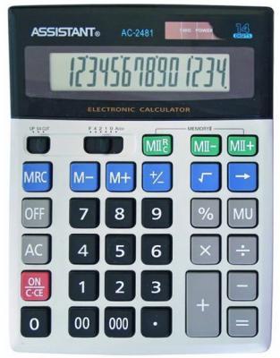 Калькулятор настольный Assistant AC-2481 14-разрядный  AC-2481 assistant assistant ah 1053 black