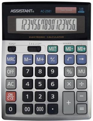 Калькулятор настольный Assistant AC-2581 16-разрядный серебристый калькулятор assistant ac 1191 8 разрядный цвет серебристый