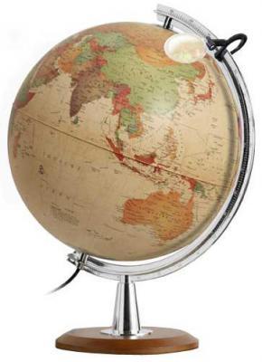 Глобус COLOMBO с двойной картой, античный,диаметр 40 см, новая карта, подсветка, лупа, дерев.подстав 0340COL/new