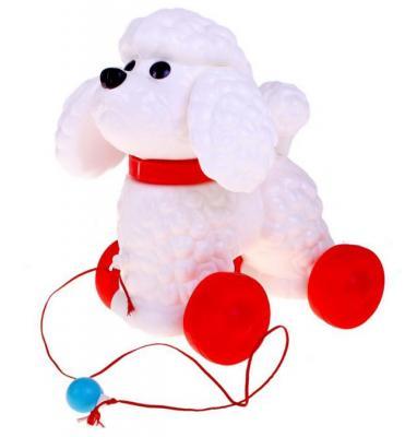 Каталка на шнурке Огонек Собака Фафик белый от 2 лет пластик С-1354