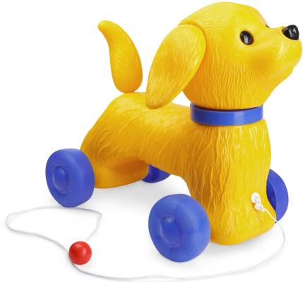 Каталка на шнурке Огонек Собака Шарик желтый от 2 лет пластик C-1353 каталка огонек шарик