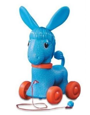 купить Каталка на шнурке Огонек Ослик пластик от 2 лет на колесах голубой С-1351 по цене 425 рублей