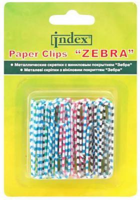 Скрепки Index Зебра 50 шт 25 мм разноцветный IPC2025ZEB скрепки зебра металл винил 50 мм 30 шт блистер