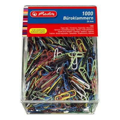 Скрепки 26 мм, цветные с пластиковым покрытием, 1000 шт. в пластиковой упаковке 8859134