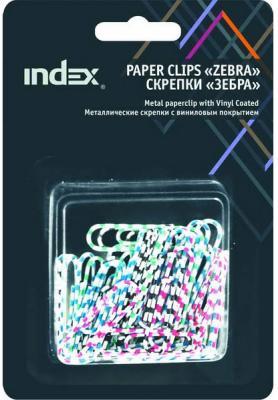 Скрепки Index Зебра 50 шт 28 мм разноцветный IPC2028ZEB скрепки зебра металл винил 50 мм 30 шт блистер