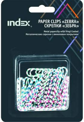 Скрепки Index Зебра 40 шт 32 мм разноцветный IPC2032ZEB скрепки зебра металл винил 50 мм 30 шт блистер