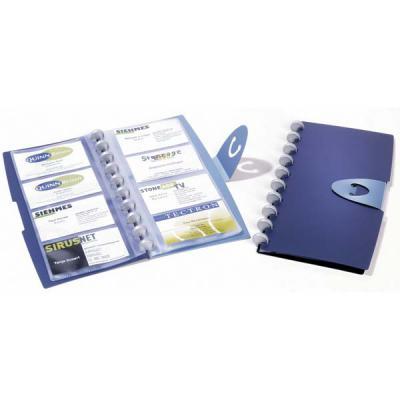 Визитница DURALOOK VISIFIX WALK на 96 визиток, на кольцах, застежка-клапан, темно-синяя