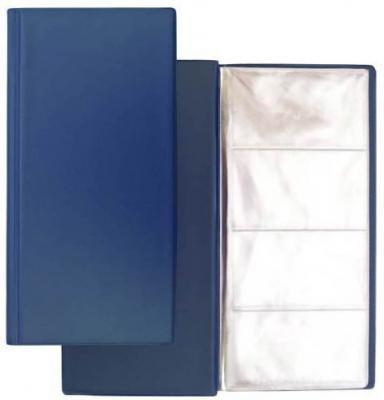 Визитница на 96 визиток, разм.12х24,5 см, темно-синяя, PVC 03-1160-2/ТС