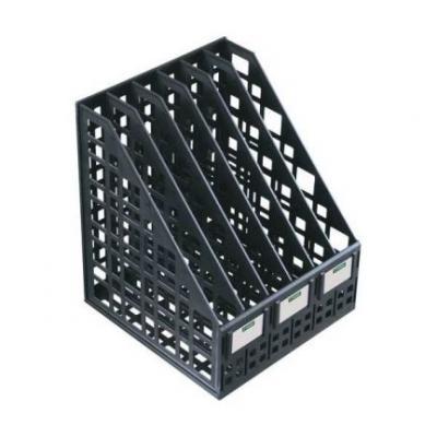 Лоток для бумаг, вертикальный, сборный, 6 отделений, черный ЛТ87