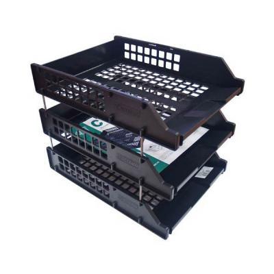 Набор из 3-х лотков, горизонтальных на металлических стержнях, черный ЛТ112