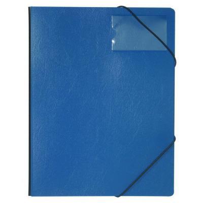 Папка на резинках из прочного пластика, ф.А4, на 150 листов, с инфо-окном 57х90 мм, синяя 153585