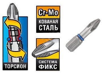 Бита торсионная кованая Зубр Эксперт 26011-2-100-1 бита зубр мастер 26003 1 50 2