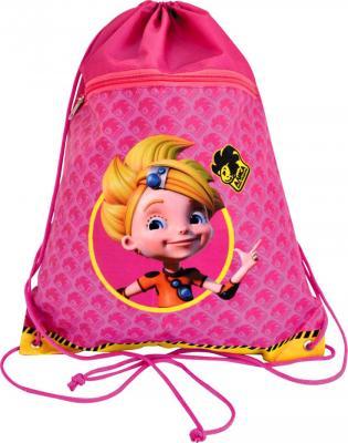 Мешок для обуви АЛИСА, разм.43х34 см, с доп.карманом на молнии, розовый AZ-ASS4305/1