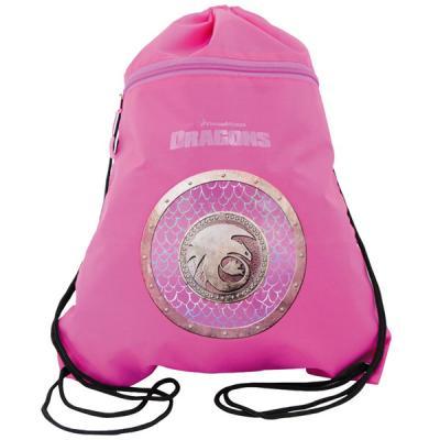 Мешок для обуви Как приручить дракона-2, разм.34х43 см, с карманом на молнии, фиолет-роз,для дев DR-ASS4305/5