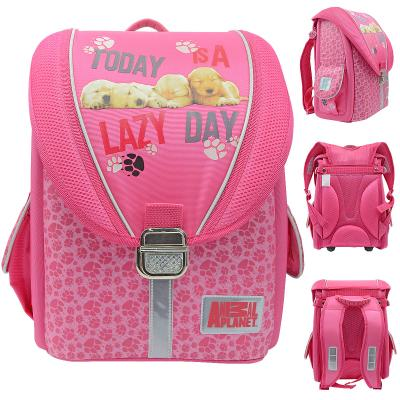 Ранец школьный ANIMAL PLANET, разм.35х25х14 см , с жесткой рельефной спинкой, розовый, для девочек AP-ASB4003/1/16
