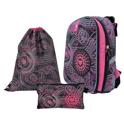 Школьный рюкзак с рельефной спинкой Action! АЛИСА черный розовый